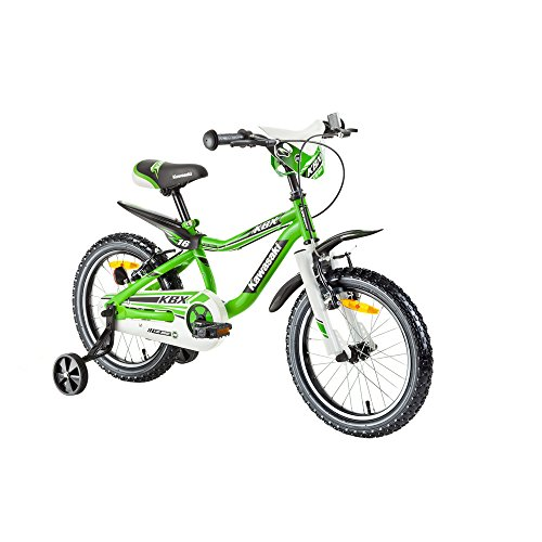 Kawasaki Kinderfahrrad 16 Zoll Juroku KBX - Fahrrad für Kinder grün/schwarz