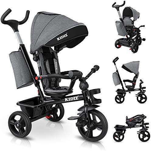KIDIZ® Dreirad 5in1 Kinderdreirad mit Schubstange Lenksystem Stange ab 1 Jahr vorwärts und...