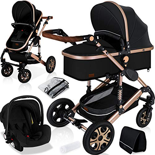 KESSER® Loops 3 in 1 Kinderwagen Kombikinderwagen komplettset incl. Babywanne & Buggy Sportsitz &...
