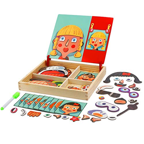 FORMIZON Pädagogisches Holzspielzeug, Montessori Lernspielzeug Staffelei Doodle mit Doppelseitiger...