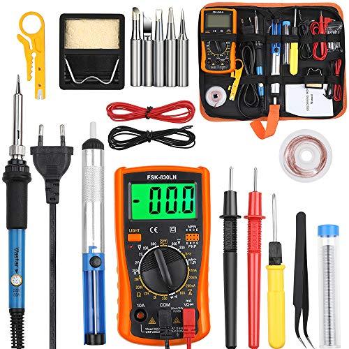 Vastar Lötkolben Set Eletronische Lötkolben Kit 60 W, einstellbare Temperatur mit Digitalmultimeter,...