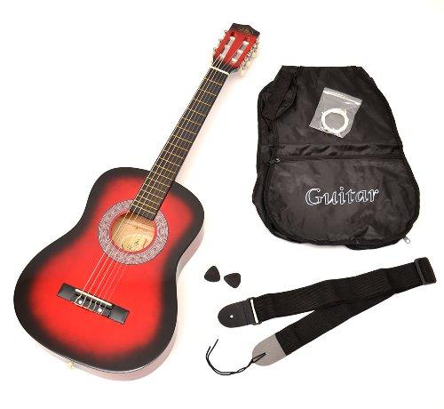 ts-ideen 5209 Kindergitarre Akustik Gitarre in der 1/2 Größe in Rot für circa 6 - 9 Jahre mit...