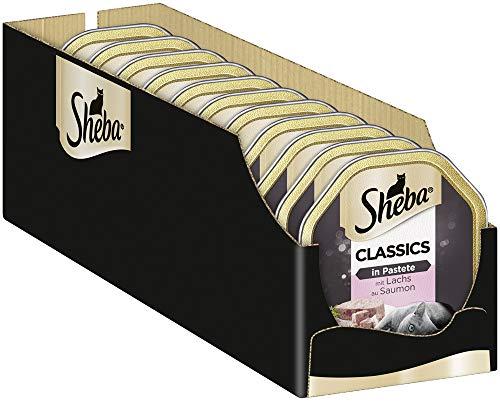 Sheba Classics in Pastete – Katzenfutter als Pasteten mit feinen Stückchen – Lachs – 22 x 85g