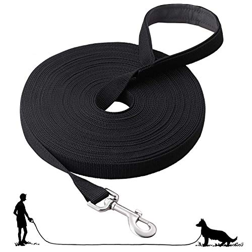 Fttouuy Schleppleine Hunde - 5m/ 10m/ 15m/ 20m Übungsleine mit Gepolsterten Griff- Robuste Trainings...