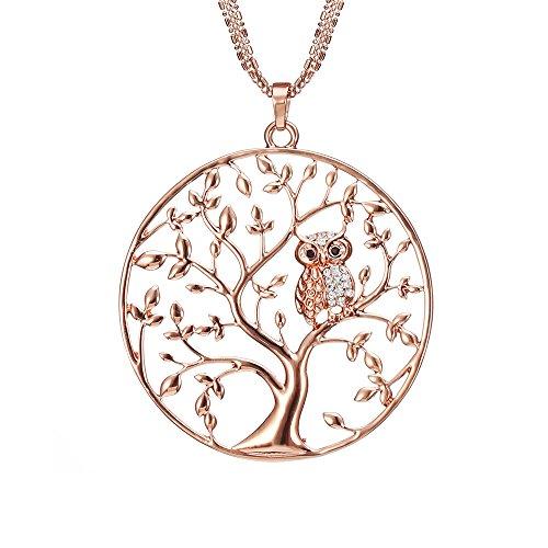 Lange Halskette für Frauen, Baum des Lebens mit Eule Anhänger Halskette für Mädchen Rose Gold und...