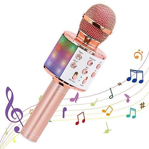 Mikrofon für Karaoke, Ankuka Bluetooth Mikrophon mit Lautsprecher und Dynamisches Licht, Karaoke...