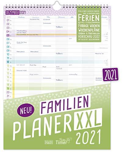 FamilienPlaner XXL 2021 mit 7 Spalten, 33 x 44 cm | Wandkalender Jan - Dez 2021 | Familienkalender...