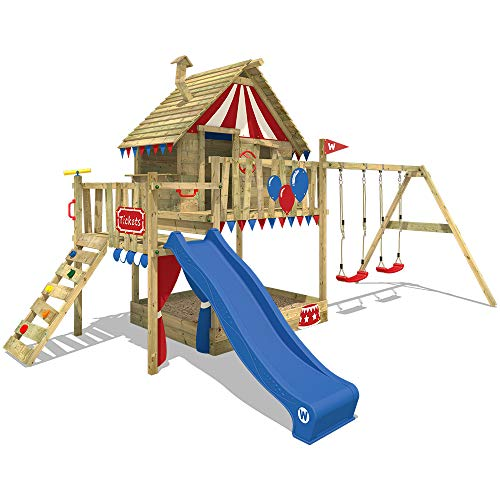 WICKEY Spielturm Klettergerüst Smart Trip mit Schaukel & blauer Rutsche, Stelzenhaus mit Sandkasten,...