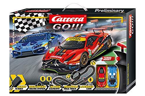 Carrera GO!!! Race the Track Rennstrecken-Set | 6,2m elektrische Rennbahn mit Lamborghini Huracán GT3 &...