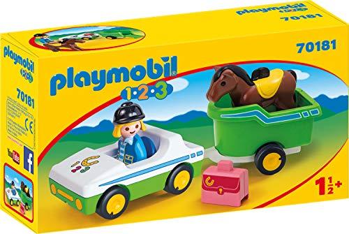 PLAYMOBIL 70181 1.2.3 PKW mit Pferdeanhänger, bunt