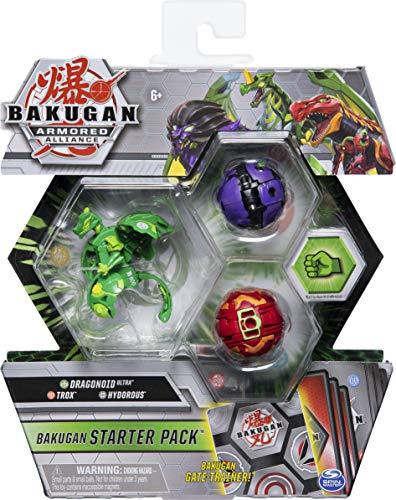 Bakugan Starter Pack mit 3 Armored Alliance Bakugan (Ultra Ventus Dragonoid, Basic Pyrus Trox, Basic...