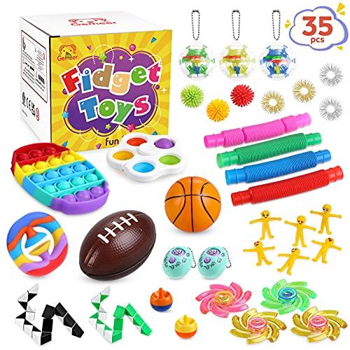 Gemeer Pop Fidget Toys Set - 35 Stück Anti Stress Spielzeug mit Sensory Zappeln, Anti Stress Spielzeug,...