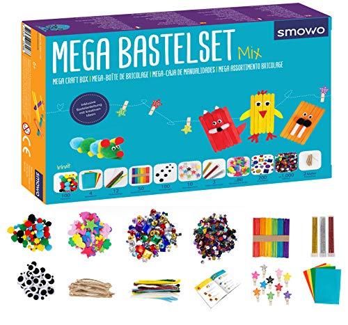 Smowo Mega Bastelset Starterset - Bastelbox Mix - mit kreativen Bastelideen - Bunte Bastelbedarf Box zum...
