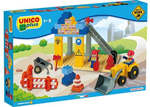 Unico Plus 8526 Baustelle mit Fahrzeugen Men at Work 39 TLG