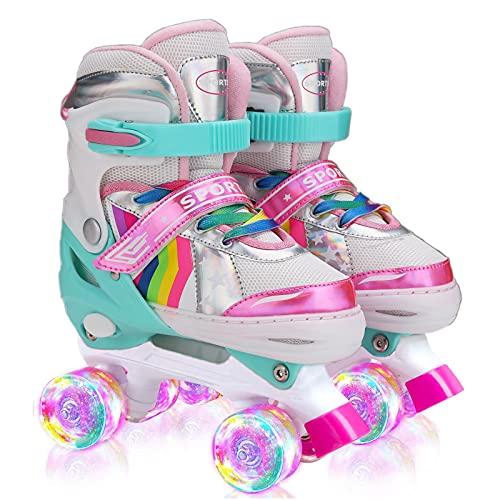 Sumeber Verstellbar Rollschuhe für Kinder,mit Leuchtenden Rädern Roller Skates Bequem und atmungsaktiv...