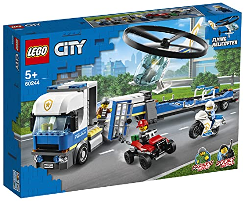 LEGO60244CityPolizeihubschrauber-Transport,Bausetmit LKW, Quad und Motorrad, Polizei Spielzeug