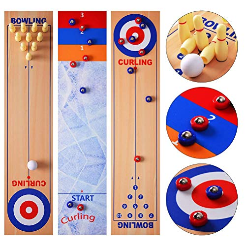 Kangmeile Tisch-Curling-Spiel Mini-Bowlingspiele Shuffleboard-Tisch Tischspiel-Bowlingset für...