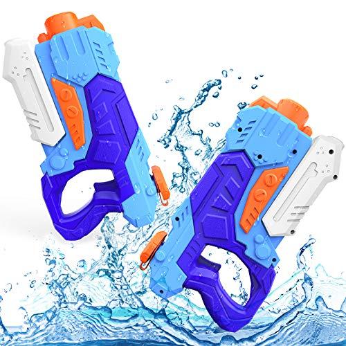 Kiztoys Wasserpistole Spielzeug Kinder Set 2 Stück 600ML Pool Wasserspritzpistolen mit Reichweite 33...