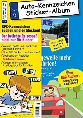 Kinder-Reisespiel KFZ-Kennzeichen Sticker-Sammelalbum fürs Handgepäck, Mitmachbuch für die Ferien,...