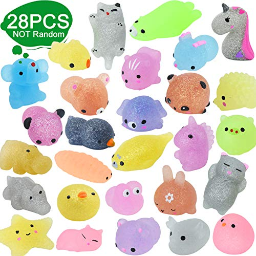 28pcs Squishy Toys Glitter Mochi Party Gefälligkeiten für Kinder Tiere Squishy Stressspielzeug Einhorn...