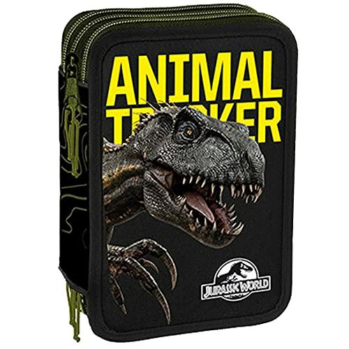 Jurassic World Federmäppchen für die Schule mit 3 Reißverschlüssen, komplett mit Schreibwaren,...