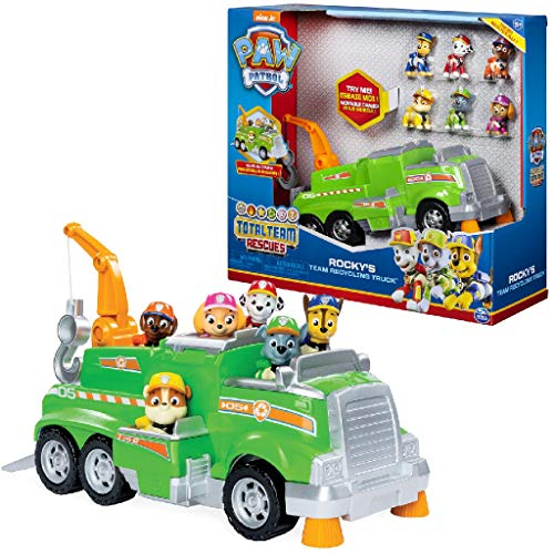 Paw Patrol - Rockys Recycling-Truck für das ganze Team, mit 6 Welpen, für Kinder ab 3 Jahren