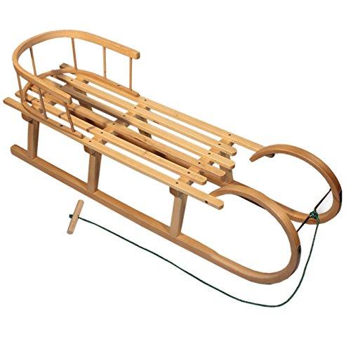 BAMBINIWELT Holzschlitten/Hörnerrodel mit RÜCKENLEHNE und Zugleine, aus Buchenholz, Kinderschlitten,...