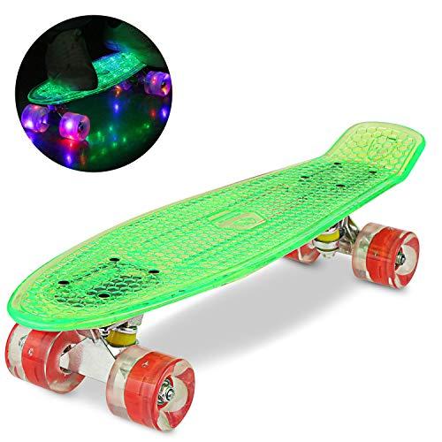 WeSkate 55CM Mini Cruiser Skateboard Kunstsoff Flashing mit LED Leuchten/Deck Komplett Retro Skate Board...