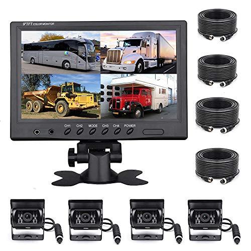 Rückfahrkamera-Set für Vans 9 Zoll mit Rückspiegel, 4-geteiltes Display, 4-Kanal-Video, IP68,...