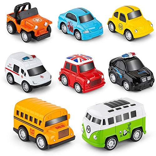 RuiDaXiang Metall Zurückziehen Spielzeugautos, 8 Pack Mini Die Cast Spielzeugautos Set, Polizeiwagen/...