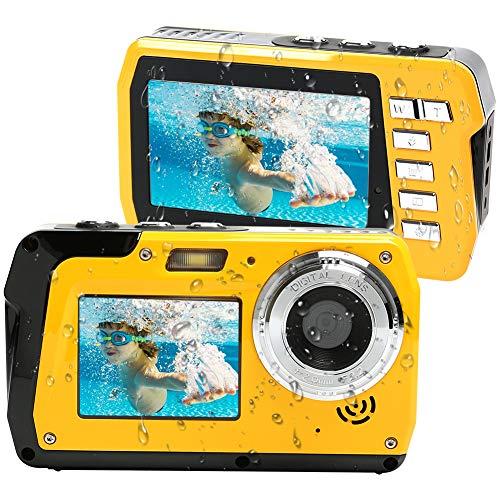 Lincom Unterwasserkamera Unterwasser Kamera 2.7K Full HD 48.0 MP Kamera mit Zwei Bildschirmen für Selfie...