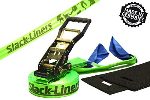 Slack-Liners 4 Teiliges Slackline-Set LEUCHTGRÜN - 50mm breit, 25m lang - mit Langhebelratsche Made in...