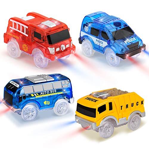 Funkprofi Spielzeugautos für Kinder ab 2 Jahre alt, 4 Pack Kinderspielzeug Auto Track Cars mit 5 LED...