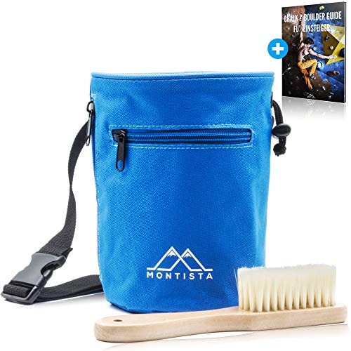 Montista Chalkbag mit Boulder-Bürste - 2-in-1 Magnesia-Beutel Set zum Bouldern und Klettern - Mit...