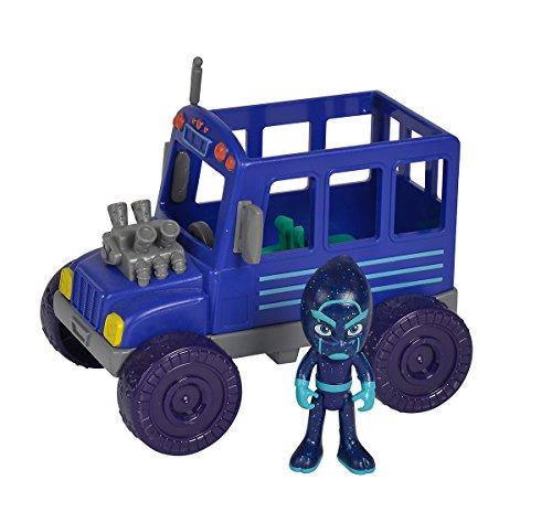 Simba 109402228 - PJ Masks Ninja mit Bus / mit Bösewicht Nacht Ninja / mit Action Figur / blau/ Fahrzeug...