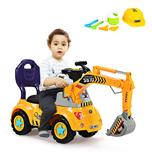 COSTWAY Sitzbagger mit Musik, Soundeffekt und Lichter, Kinderbagger mit eingebautem Ablagefach,...