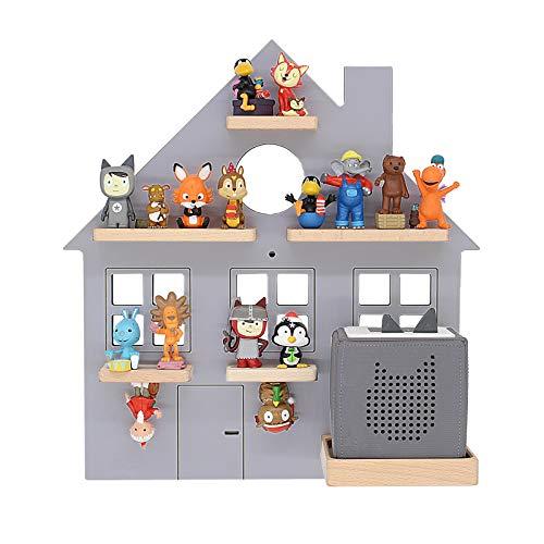 BOARTI Kinder Regal Haus small in Grau - geeignet für die Toniebox und ca. 25 Tonies - zum Spielen und...