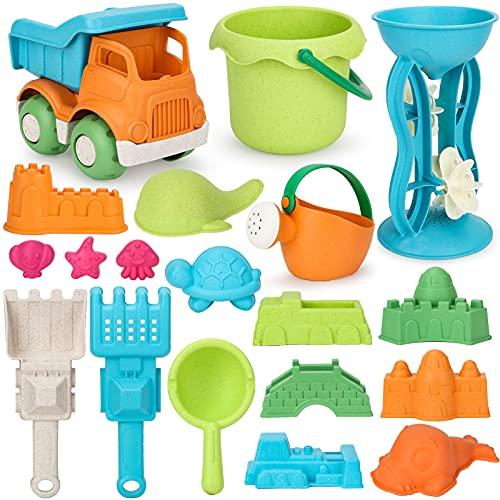 Vanplay Sandspielzeug Weizenstrohmaterial Sandkasten Spielzeug mit Strandspielzeug Tasche für Kinder 19...