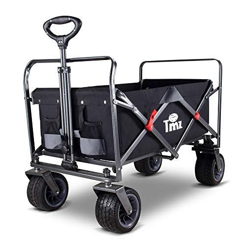 TMZ All-Terrain Auto-Reifen Faltbar Bollerwagen, Patentierter Breiter 360 ° Drehräder Handwagen...