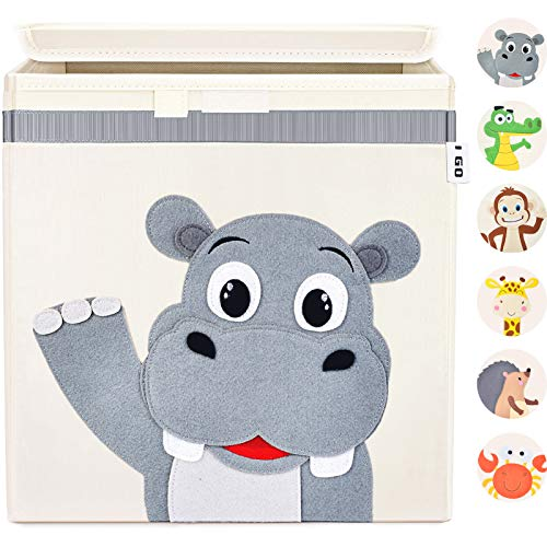 I GO Aufbewahrungsbox Kinder Spielzeugkiste mit Deckel für Kinderzimmer Regal 33x33x33cm, Nilpferd