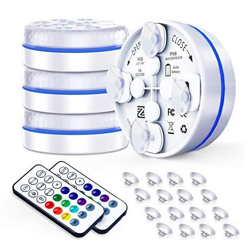 ZREE Unterwasser Licht, Unterwasser LED 4 Stück Mit Saugnapf und Magnet Kann Adsorbiert Werden IP68...