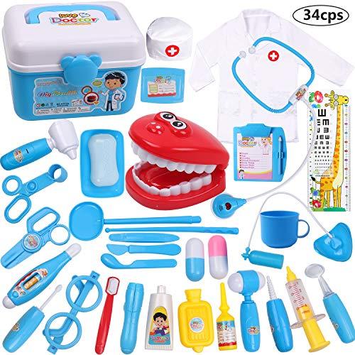 DigHealth 34 Stück Kinder Arztkoffer Spielzeug,Doktorkoffer zum Rollenspiel,Arzt Medizinisches Spielset...