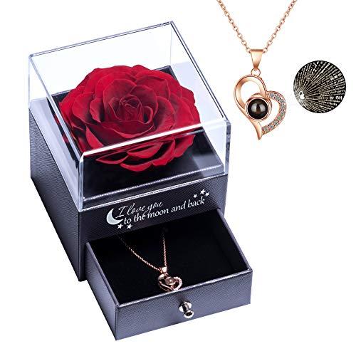 Yamonic Echte Rose mit Liebe Sie Halskette Schmuck Geschenk für sie, Ewige Liebe Rose zum Valentinstag...