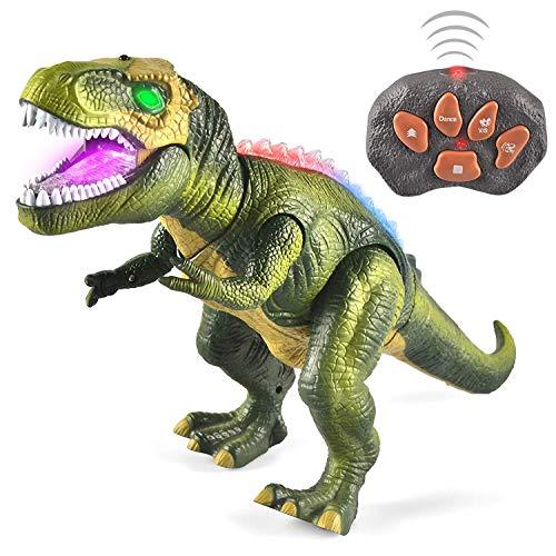 JOYIN Kinder LED Ferngesteuertes Dinosaurier Spielzeug, Elektronik T-Rex Dino Spielzeug mit Gehen,...