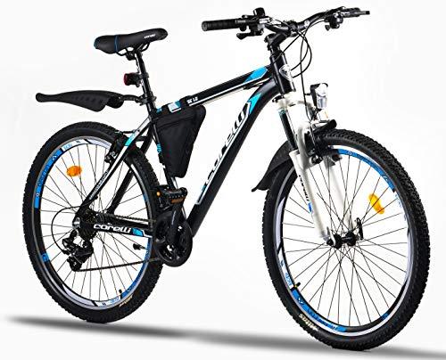 Corelli Dusk Mountainbike 26 Zoll oder 24 Zoll mit Aluminium-Rahmen, V-Brake, Shimano 21 Gang-Schaltung &...