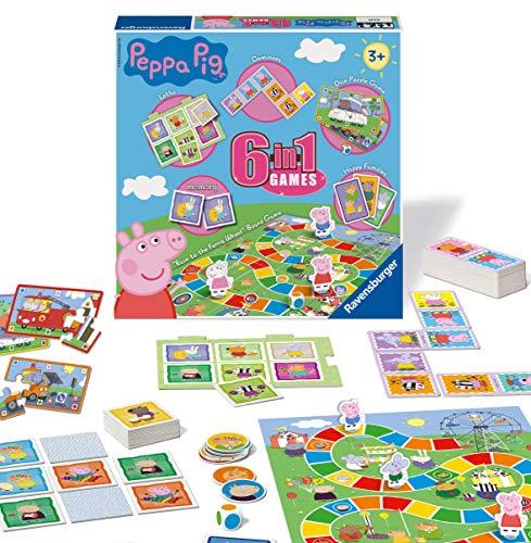 Ravensburger Peppa Pig 6-in-1 Spielkompendium für Kinder und Familien ab 3 Jahren – Bingo,...