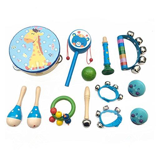 PAMRAY Musikinstrumente Set Kinder Percussion Spielzeuge Hölz Mädchen Mini Schlagzeug Schlagwerk Bunt...