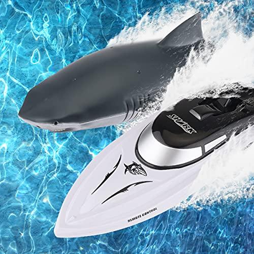 2 in 1 Ferngesteuertes Boot RC Shark Boat RC Speedboat mit RC Shark Head& 2 Austauschbaren Batterien 2,4...