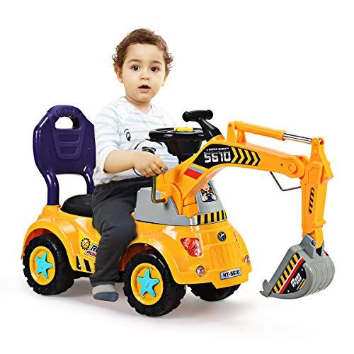 COSTWAY Sitzbagger für Kleinkinder, Kinderfahrzeug mit Zwei Schaufeln, Kinderauto Bagger, Kinderbagger...