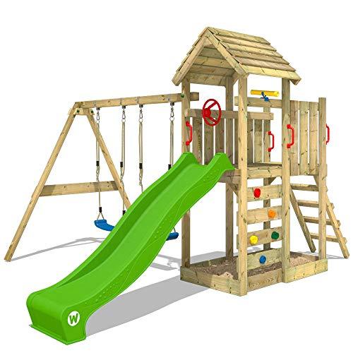 WICKEY Spielturm Klettergerüst MultiFlyer Holzdach mit Schaukel & apfelgrüner Rutsche, Kletterturm mit...